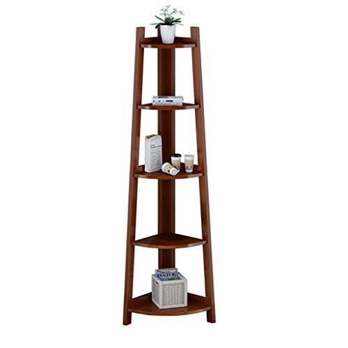 Kitchen furniture - Étagère en bois étagère d'atterrissage porte-fleur coin support de rangement étagères créatives trapézoïdes WXP (Couleur : Walnut color)