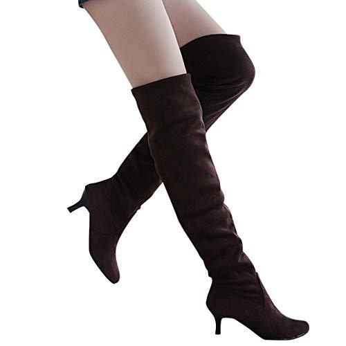OSYARD Damen Langschaftstiefel Freizeit Herbst Winter Schuhe Sole Gummistiefel, Frauen Wildleder Overknee-Schuhe Block Mid Heels Oberschenkel Hohe Stiefel Stiefeletten (225/36, Braun)