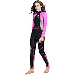 ZEELIY HiSEA Femmes La Mode Combinaison de Plongée❀0.5mm Élastique Chaud Manches Longues Combinaison de plongée à Capuche Anti-UV pour sous-Marine et la Natation Surf Noir XS-XXL