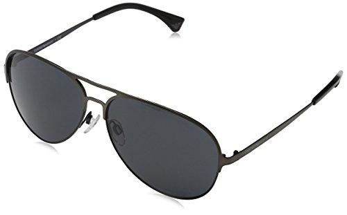 Emporio Armani Unisex Sonnenbrille EA2032, Mehrfarbig (Matte Gunmetal/Black 312687), Large (Herstellergröße: 59)