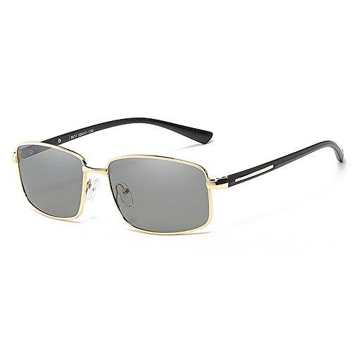 Xiuxiushop Vintage Retro Polarisierte Sonnenbrille Für Männer Outdoor-Sport Ultraleichte Metallic Metallrahmen HD Objektiv Gläser Air Force Unisex UV 400 Schutz (Color : Gold)
