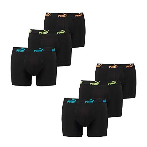 Puma 6 er Pack Boxer Boxershorts Herren Unterwäsche Sportliche Retro Pants, Bekleidungsgröße:L, Farbe:239 - Tripple Black