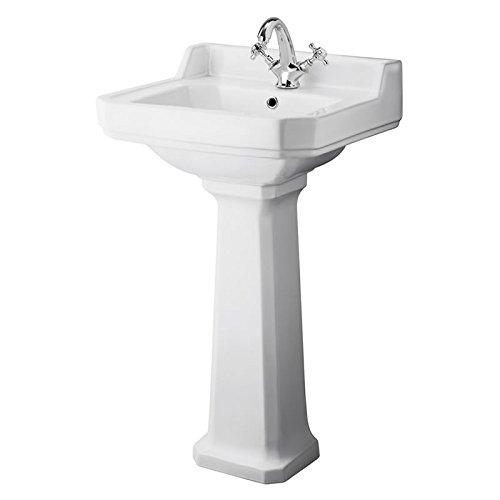 Hudson Reed Waschbecken Richmond - Traditionelles Standwaschbecken mit Spritzschutz für 1-Loch-Armaturen 500 mm
