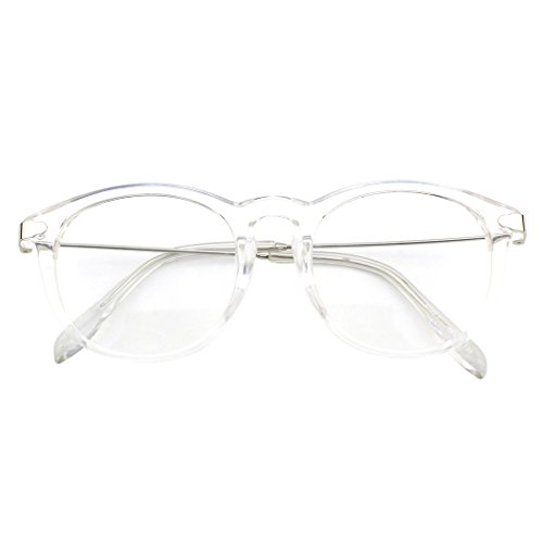 CGID CN88 Fashion Keyhole Metal Temple Oval Horn Rimmed Clear Lens Glasses