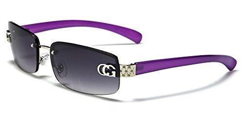 Womens C.G Eyewear Rahmenlosen Fashion 'Agatha' Sonnenbrille - fumé Gläser Opfergabe Voll UV400 Schutz - Inklusive Ziehschnur Tasche & Reinigung Stoff - erhältlich in 8 Farben - Lila Rahmen \ Schwarz Fumé Gläser