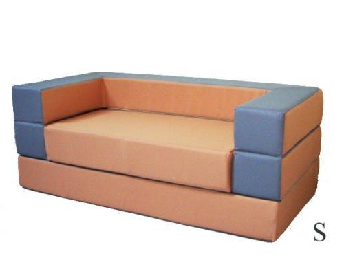 Kindersofa mit Bettfunktion 4in1 * Matratze Spieltisch Puzzle Sofa Spielsofa (Orange+Grau)