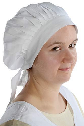 HEMAD Damen Mittelalter Haube Baumwolle - Weiße Kostüm Motorhaube