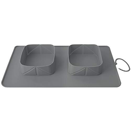 Pawaboo Pet Travel Food Bowls, Collapsible Roll Up Silicone Mat Dog Feeder Bowl with Secure Buckle, Portable Easy Storage Pet Feeding Accessories for Travel Camping Outdoors & More, Large Size, Gray Rectangle Food Storage