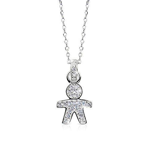 Collana donna argento 925 bebè m boy ciondolo bambino con pietre zircone catena rodiata inossidabile ed elegante idea regalo cerimonia o fidanzamento italian design