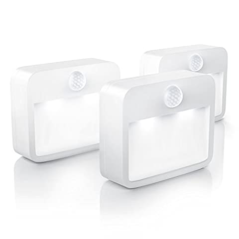 Brandson - LED Set 3 x nightlights with motion and brightness sensor | Battery Powered Night lamp | including magnetic mount + wall mount device | white | Energy Class