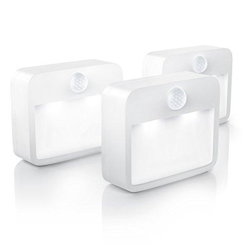 Brandson - 3 x Luz LED de Noche con Sensor de Movimiento y de claridad (Sensor de oscurecimiento) | Lámpara de Noche, inalámbrica a Pilas/Luz de Noche con Pila
