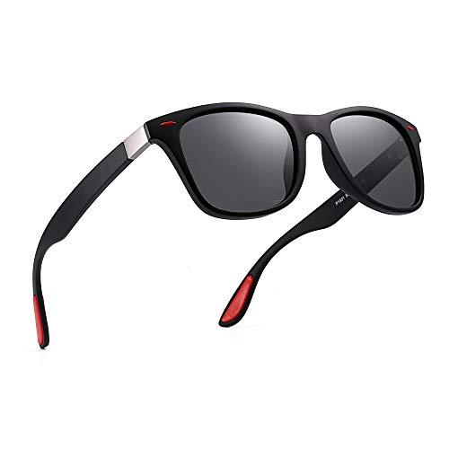 JM Polarisiert Sonnenbrille Vintage Platz Horn mit Rand Fahren Sonne Brillen Damen Herren(Schwarz Rot/Polarisiertes Grau)