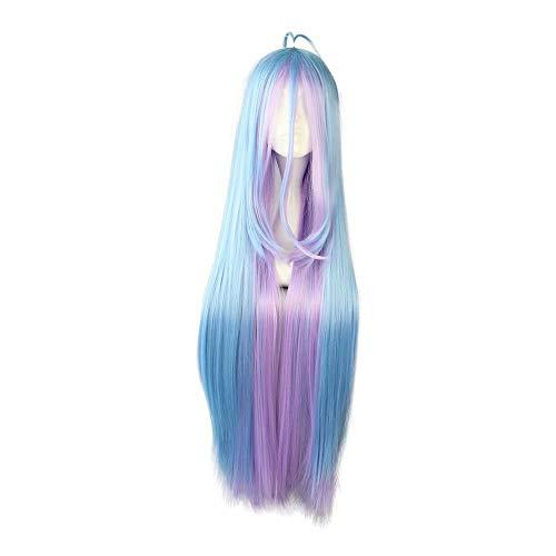 NiceLisa Mädchen Lange Gerade Blau Licht Lila Ahoge Anime Convention Fan Kostüm Verkleidung Cosplay ()
