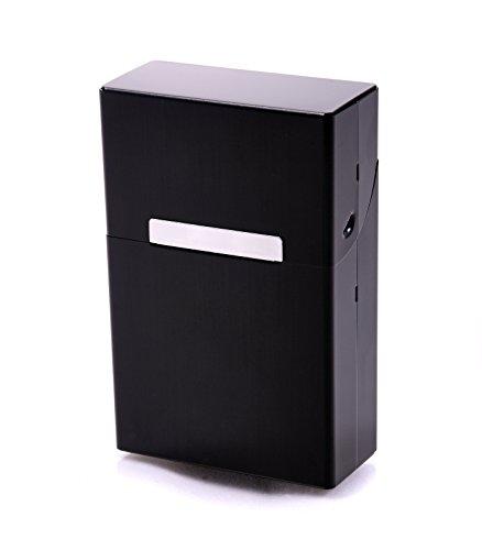 Zigarettenbox Metall Alu Zigarettentui Zigarettenschachtel Box für Zigaretten - mehrere Farben wählbar (schwarz)