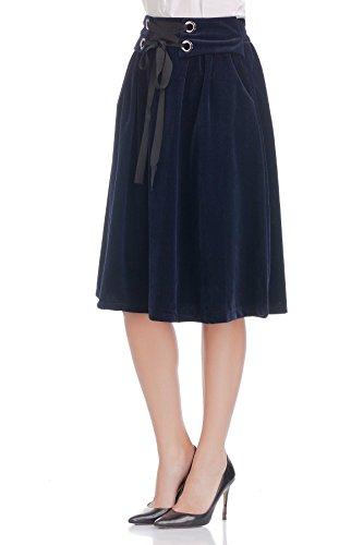 Laura Moretti - Jupe midi plissée en velours côtelé avec ruban à la taille