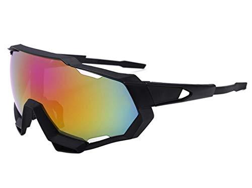 Lafeil Sportsonnenbrille Herren Damen Herren Sonnenbrillen Herren Radfahren Brillen Bunte Sonnenbrillen Outdoor Brillen Fahrrad Winddicht Schwarz Rot