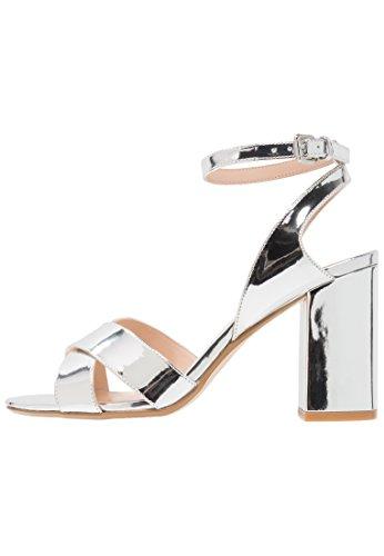 Even&odd sandali da donna con tacco alto e cinturino a caviglia, argento, 39