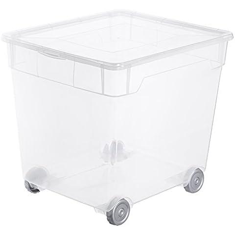 Rotho 4103094094 Clearbox - Caja de Almacenaje con Tapa y Ruedas 31 L, transparente - Aplicación