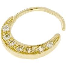 Mia Gioielli–nariz Septum Anillo joyas, nariz Septum Piercing oro 18ct amarillo, hipoalergénico, 9x 0,8mm