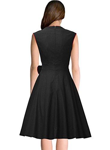 Missmay Damen Vintage Rockabilly 50 Jahr Partykleid Festliches Kleid Cocktail Ballkleid schwarz Gr.36-46 - 3