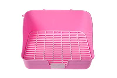 Silvergent Rabbit Cage Litter Box Corner Tray Pan with Grate for Potty Training, (Pink) Complete with Wicker Ball Chew Toy for Small Animals by Silvergent
