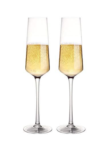 (Fecihor Champagner gläser Set von 2 sektgläser kristall Hochzeit weingläser für brautpaar)