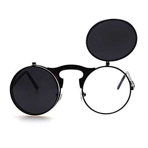 MJDABAOFA Männer Alte Runde Steampunk Sonnenbrille Männer Kleine Runde Klappbare Sonnenbrille Frauen Retro Metall Silber Uv400