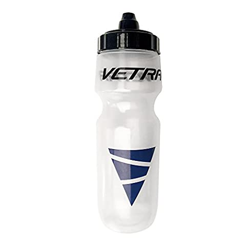 Vetra Sports Squeeze Water Bottle Leakproof Valve Hydration 650 ML Clear/Black/Blue Running Cycling Bike Soccer Football
