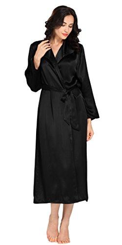 LILYSILK Robe de Chambre Élégante Soie Naturelle Femme Mi-jambe 22 Momme Noir