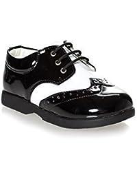 Paisley of London - Zapatos de vestir para niños negros y blancos
