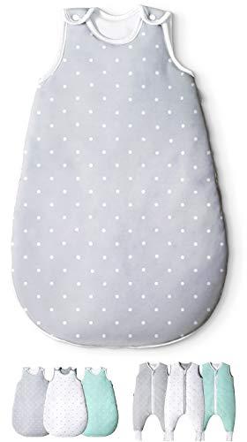 Ehrenkind® Babyschlafsack Rund | Bio-Baumwolle | Ganzjahres Schlafsack Baby Gr. 50/56 Farbe Grau mit weißen Punkten