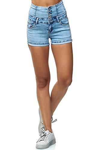 Elara Damen Kurze Hose | High Waist Shorts | Push Up Effekt | Slim Fit | Chunkyrayan MS460 Blue-36