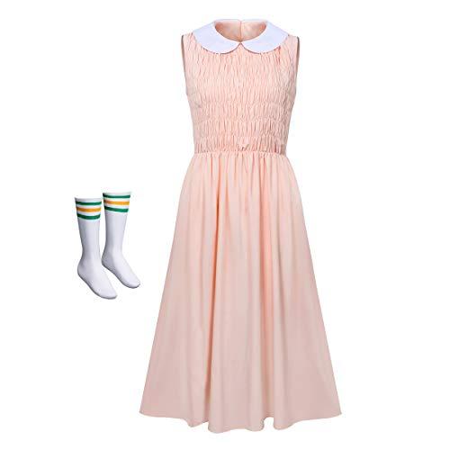 NUWIND Damen Elfen-Kleid und Socken ohne Ärmel für Erwachsene Halloween Cosplay Gr. Small, Hellrosa (Puppe Elfe Kostüm)