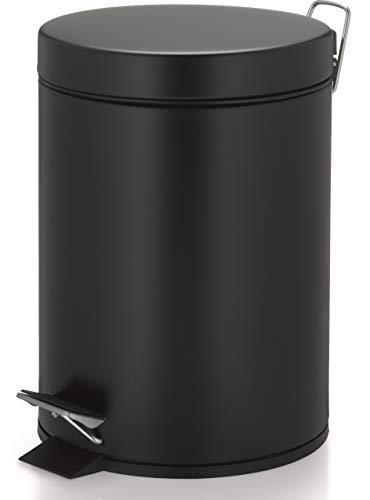 kela 22352 Aaron Poubelle cosmétique Métal Noir 20,5 x 20,5 x 28 cm 5 L