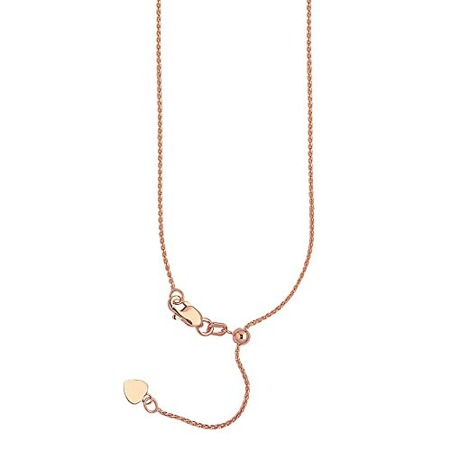 72c36847cf2ec 14k Pink Gold 025 Adjustable Wheat Chain with Slider Adjust Up to 22 inches
