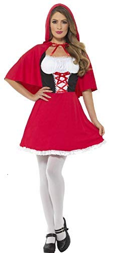 Ladies Miss Red Hood World Book Day TV Book Film Fairytale Carnival Halloween Fancy Dress Costume Outfit UK 4-22 (UK 8-10)