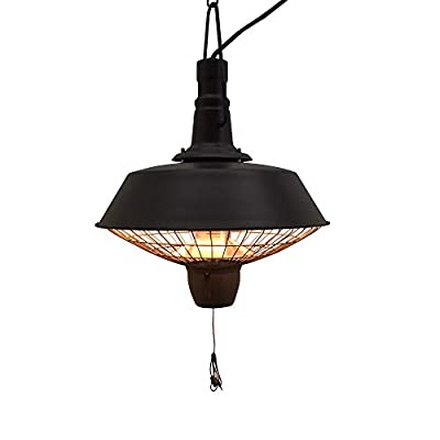 Outsunny 2100W Outdoor Ceiling Mounted Halogen Electric Heater Hanging Patio Garden Warmer Light - Black