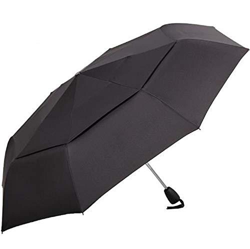 Parapluie Parapluie automatique à double couche coupe-vent à double couche pliable (Couleur : NOIR)
