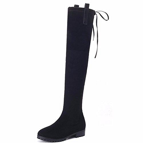 HXVU56546 Les Nouvelles Chaussures. Chaussures Nouveau Chaud Hiver Long Tube Tube Avec Sangles Bas Black Suede