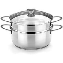 BRA Ancora - Set para cocinar al vapor, 20 cm, acero inoxidable 18/10, con tapa de cristal