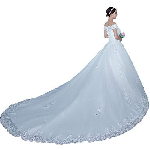BCSHF Hochzeitskleid Frauen Schulterfrei Blumenspitze Applique Mesh Tüll Lange Zug Kapelle Brautkleid Korsett Brautkleid Für Hochzeit besondere Anlässe (Farbe : Weiß, Größe : XL) -