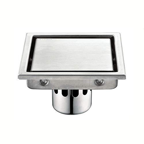 FCS Bathroom Bodenablauf dusche Edelstahl Duschabfluss Duschablaufrinne Duschrinne für Küche, Bad, Dusche, Garage und Keller (Color : Large Diameter, Size : 15x15cm) -
