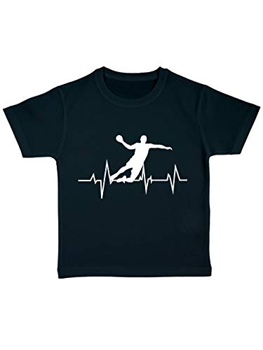 Fieber Schwarzes T-shirt (clothinx Kinder Bio T-Shirt Handball Fieber Schwarz Gr. 116)