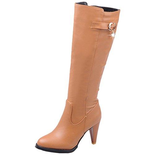 HooH Damen Halbschaft Stiefel Winter Matt High Heel Reißverschluss Knie hoch Stiefel Gelb 44 EU (Flats, High Heel)