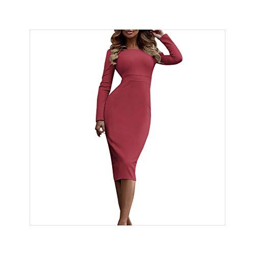 MOOPYS& Summer Dress Sexy Women Vintage Party Dress Ladies Long Sleeve Bodycon Ladies Dresses Slim Robe Femme Plus Size Dress #1226 C L (Up Ideen Western-dress)