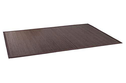 DE-COmmerce Bambusteppich WENGE I Küchenteppich Bettumrandung Läufer Bettvorleger Holzteppich Vorleger I Hochwertiger Teppich Wohnzimmer Dunkelbraun 12 Maße I XXL Bordüre 140 x 200 cm -