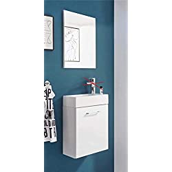 BEGA Waschplatz Guest Light Weiß Badmöbel-Set mit Waschbecken für Gäste WC