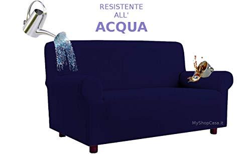 Biancheria&Casa Copridivano 2 Posti Antimacchia Elasticizzato Resistente all'Acqua in Stock : Colore - Blu