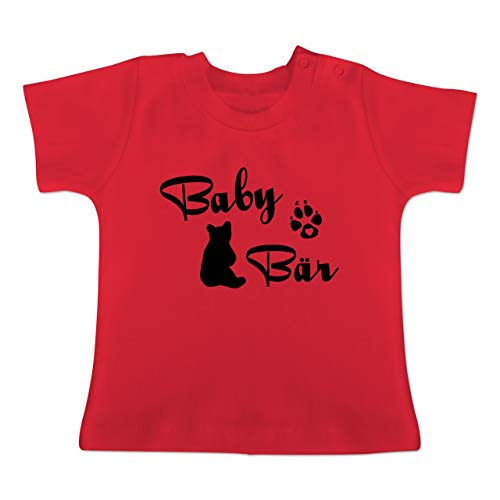 Baby - Baby Bär Lettering - 6-12 Monate - Rot - BZ02 - Baby T-Shirt Kurzarm ()