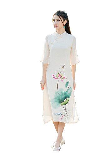 YOYI FASHION National Cotton Print Skirt Long Improved Qipao Dress Daily Cheongsam (Chinese Mandarin Kostüm)